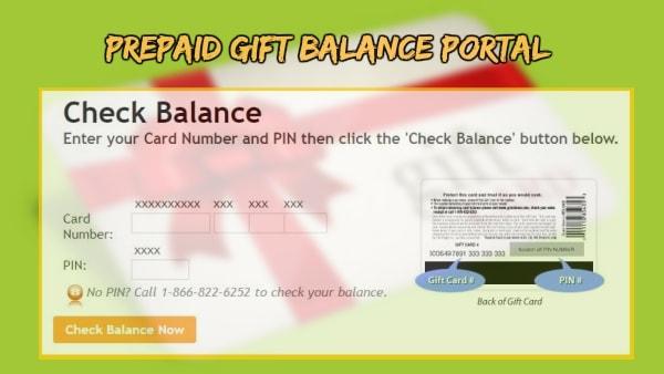 Prepaid Gift Balance check